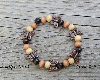Wooden Beads and Butterflies, Free Shipping