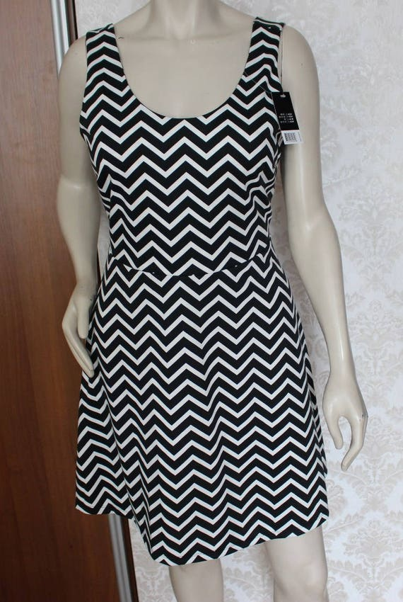 Twin Peaks Black & White Zigzag Dress Black Lodge