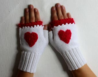 Women's wrist arm warmers fingerless mittens gloves gift for Valentine's Day white red