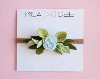 Blue Felt Rose Bud crown on a nylon headband• felt flower • felt flower headband •baby headband •little girl headband •easter headband