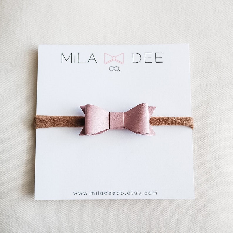 PALE MAUVE leather bow on a nylon headband \u2022 leather bow \u2022 baby bow \u2022 bow \u2022 baby headband \u2022 nylon headband \u2022 little girl