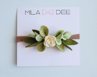 Yellow Felt Rose Bud crown on a nylon headband •felt flower •felt flower headband •baby headband •little girl headband •easter headband