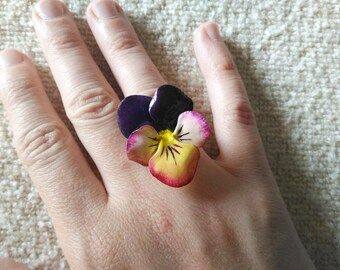 Ring with cold porcelain violet pansy, violet ring, pansy ring