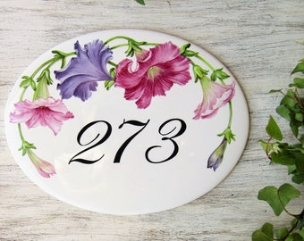 Petunias House Number Plaque, Custom House Numbers, Street Number Plaques, Street Number Signs, Home Numbers, Outdoor House Number Sign