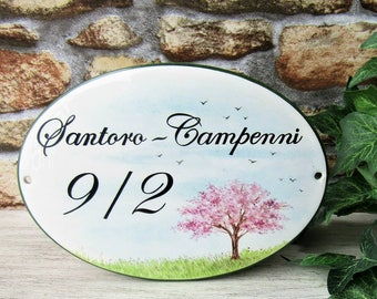 Cherry Tree Sign, Cherry Blossoms Sign, House Address Plaque, House Number Plaque, Customizable Sign, Custom Door Sign, Hanging Custom Sign