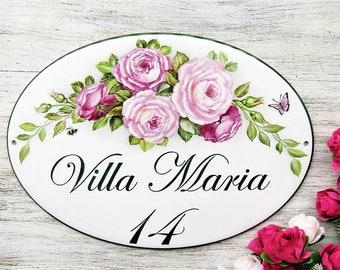 Rose Decor Sign, Custom Garden Sign, Front Porch Sign, Custom House Sign, Outdoor House Sign, House Name Plaque, Floral Decor Sign, Wall Art