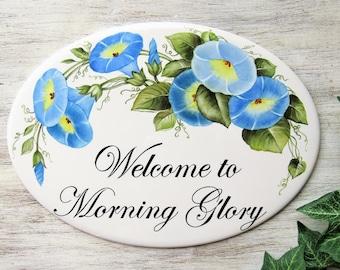 Morning Glories House Sign, Custom Cabin Door Sign, Cabin Door Sign, Garden Sign, Outdoor Name Sign, Street Address Sign, House Name Plaque