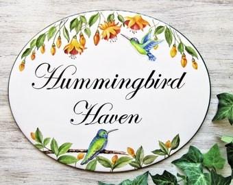 Hummingbird House Sign, Bird House Sign, Hummingbird Decor Sign, Custom Bird Plaque, Hummingbirds Sign, Bird Plaque, Custom Address Plaques