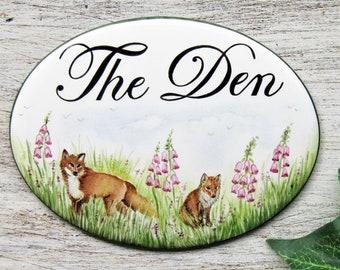 Custom Foxes Door Sign, Fox Kids Door Sign, Bedroom Door Sign, Doorbell Sign, Custom B&B Door Sign, Custom Foxglove Sign, Hotel Door Sign
