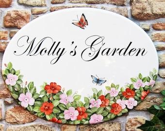 Impatiens House Sign, Garden Name Sign, Custom Garden Sign, Custom House Sign, Flower House Sign, House Address Sign, Hollyhock Cottage Sign
