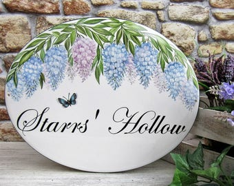Wisteria Flower Personalized Sign, Lilac Garden Sign, Custom Garden Signs, Personalized Garden Signs, Outdoor House Sign, House Name Plaque