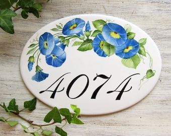 Cherry Blossom House Number Sign Cherry Flowers Street Etsy - Ceramic street numbers