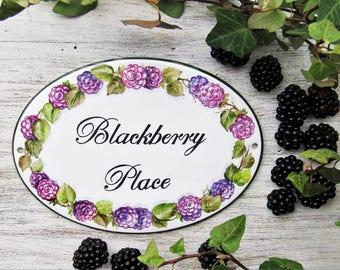 Blackberries Hand Painted House Sign, Custom Name Sign, Custom House Sign, Cottage Address Sign, Family Name Sign, Hanging Address Sign