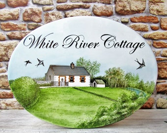 House Portrait Sign, Personalized House Portrait Ceramic Sign, Outdoor Cottage Sign, Custom House Portrait, New Cottage Sign, Home Portrait