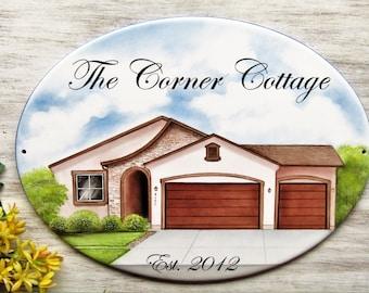 House Portrait Sign, Custom Home Portrait, Custom House Sign, Outdoor House Sign, Custom House Portrait, First House Sign, Realtors Gift