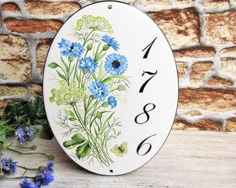 Cornflower Custom Address Sign, Custom Name Sign, Custom House Sign, Custom Address Plaque, House Number Sign, House Number Plaque