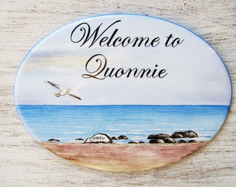 Beach Landscape Sign, Seaside House Sign, Marina Custom Sign, Beach House Sign, Landscape House Sign, Personalized Beach House Sign,