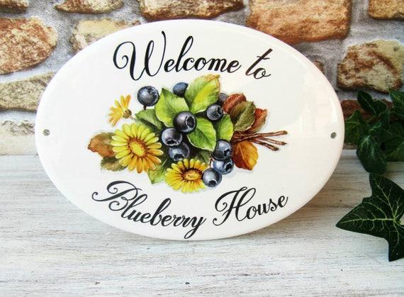 Targa personalizzata per la casa con mirtilli e fiori targa etsy
