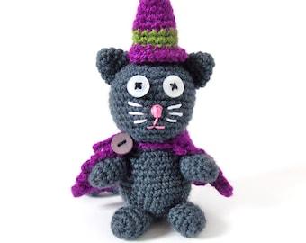 Halloween Cat in Wizzard Costume PDF Crochet Pattern