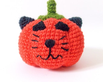 Pumpkin with Cat face PDF Crochet Pattern