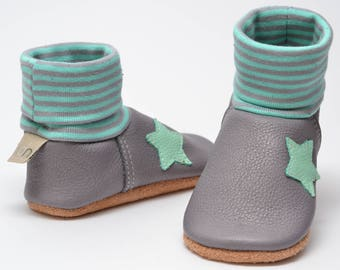 Leather crawling shoes, baby shoes, girls booties, leather shoes