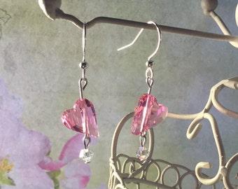 Swarovski Rose Heart Earrings