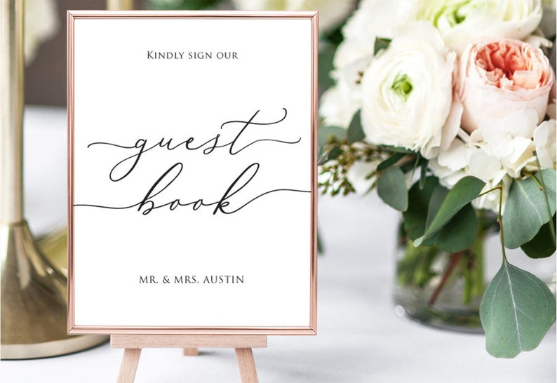 Guest Book Sign Guest Book Wedding Wedding Template Microsoft Word Format Docx Instant Download Editable