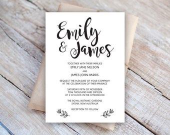 Editable Wedding Invitation Template, Instant Download, Wedding Invitation, Editable Artwork, Text & Color, Edit in Word