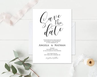 Save the date, Printable Save the date Template, Invitation Wedding Template, Microsoft Word Format (docx), Instant Download, Editable