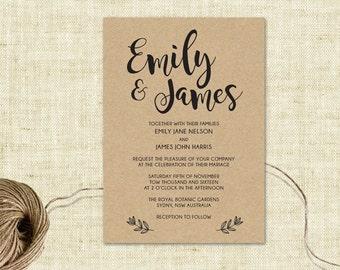 Wedding Invitation, Editable Wedding Invitation Template, Instant Download, Editable Artwork, Text & Color, Edit in Word