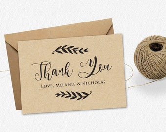 Printable thank you card Template, wedding thank you card, Editable card .DOC, Instant Download, Editable Artwork and Text Color