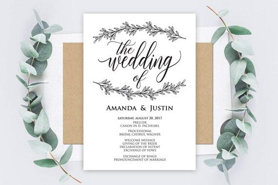 Wedding Menu Wedding Menu Template Rustic Calligraphy Invitation Card Microsoft Word Format Docx Instant Download Editable Template