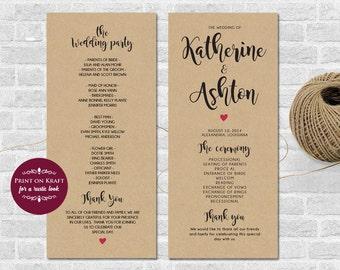 Wedding Program Printable Template - Wedding Printable .DOC Template, Instant Download, Editable Artwork and Text Color,