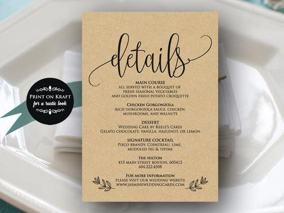 Wedding Information Card Printable Kraft Details Card Template Etsy