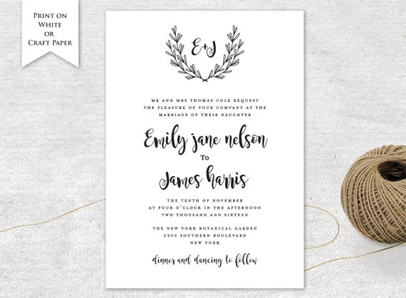 Invitation Card Printable Wedding Invitation Templates Diy Etsy