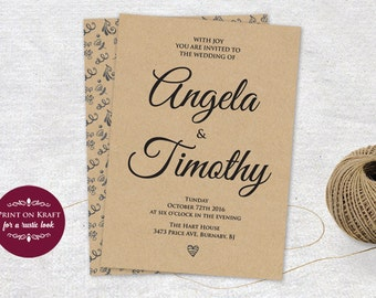 Wedding Invitation, Editable Wedding Invitation Template, Instant Download, Microsoft Word Format (docx), Instant Download, Editable
