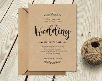 Editable Wedding Invitation Template, Instant Download, Editable Artwork, Text & Color, Edit in Word