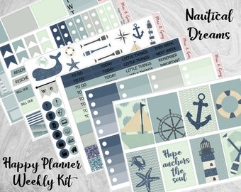 Nautical Dreams // Happy Planner Sticker Kit | Weekly Sticker Kit | Planner Kit | Under the Sea Planner Stickers | Diary & Journal Stickers