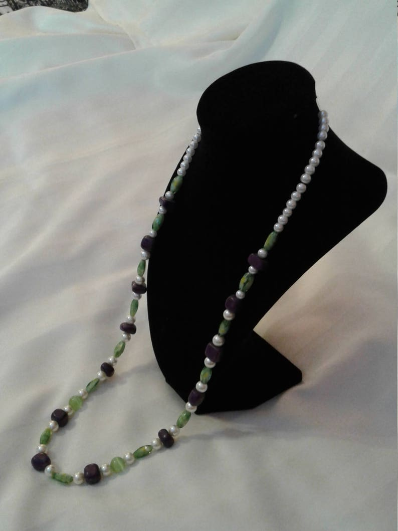 Green purple and white beaded necklace Long beaded necklace with purple white and green Green white and purple multi-faceted bead necklace