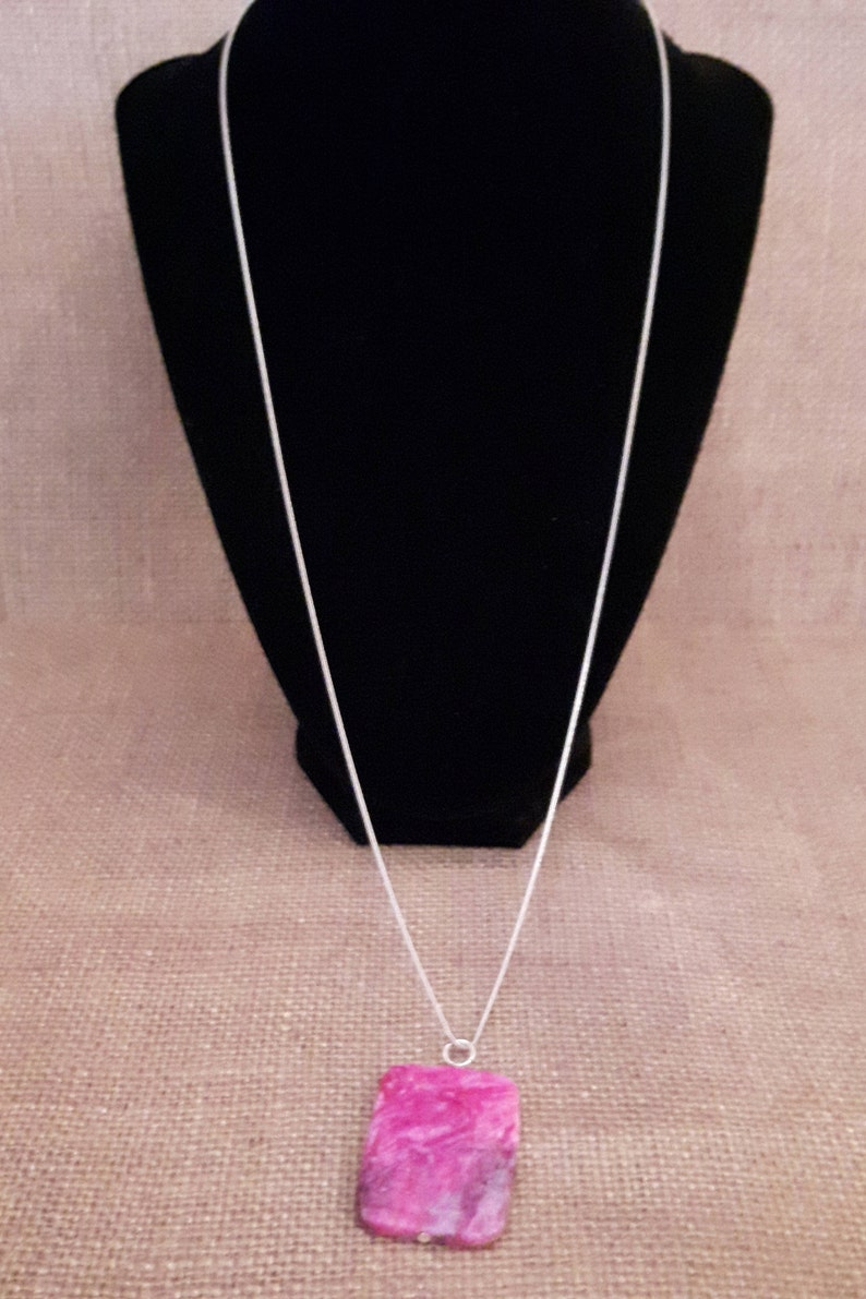 Silverplated chain with pink and purple stone pendant stone pendant chain silver chain with purple pendant silver chain with pink pendant