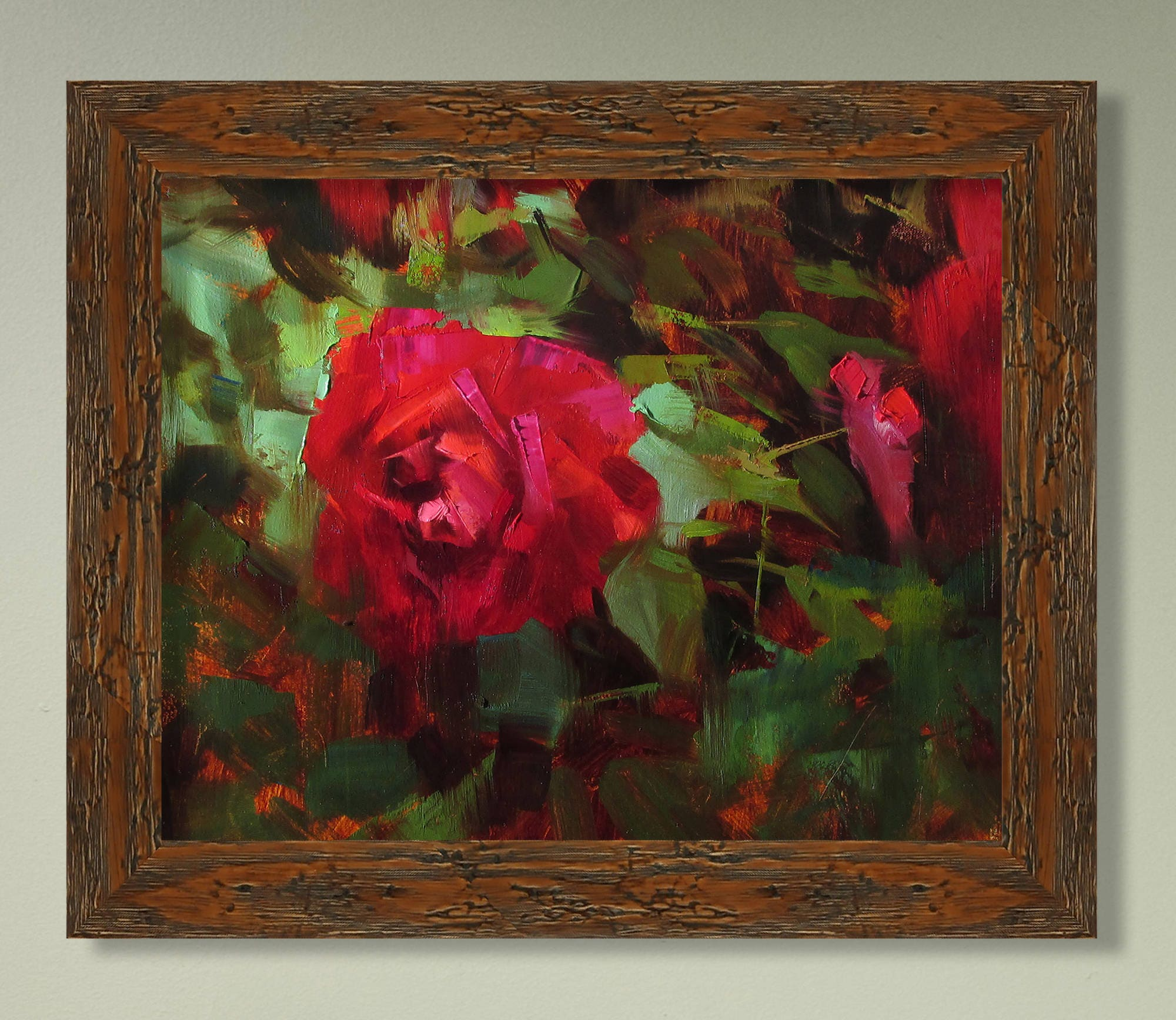 Red Rose Plein Air Original Oil Painting One of a kind   Etsy