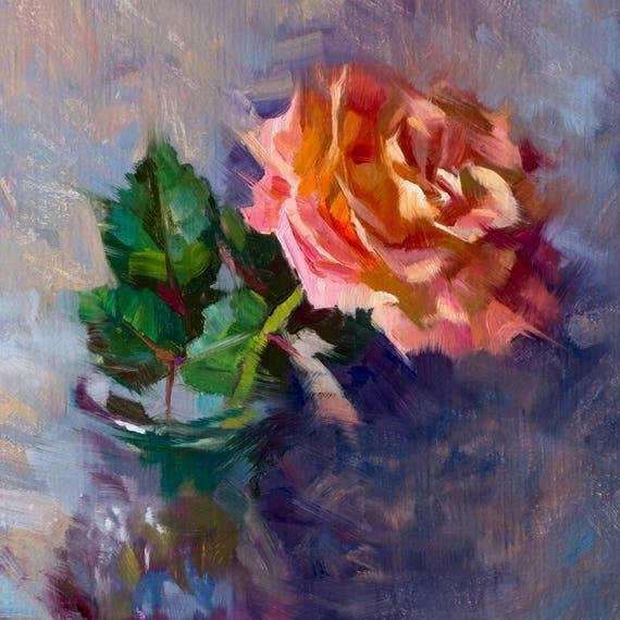 Rose Rose Peinture A Lhuile Peinture A Lhuile Dalla Etsy