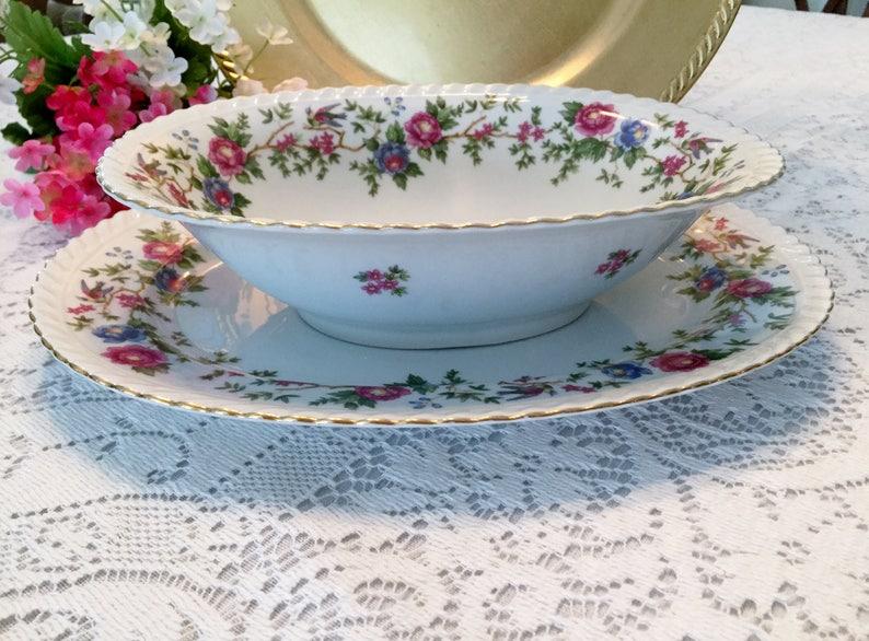 MANDARIN Pattern Floral  Birds Selb Germany 10 Franconia Krautheim Oval Vegetable Bowl