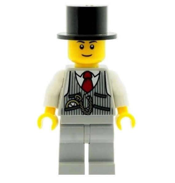 LEGO Minifigure BLACK Headgear Hat Top Hat with Ribbon Wedding Groom