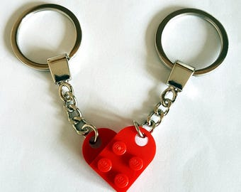 Bright Red Love Heart Keychain Keyring Valentines Present Gift Birthday Made From LEGO Parts