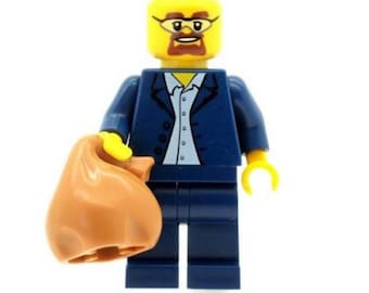 Breaking Bad Minifigure Walter White with Loot Bag Sack made from LEGO Parts Custom