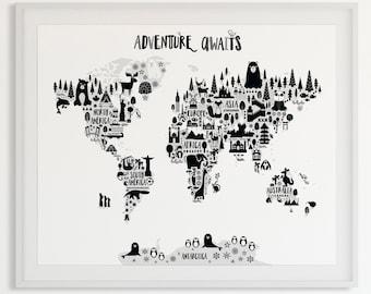 Animal World Map Print, Monochrome Nursery World Map, Adventure Nursery Map Art Kids World Map Poster Black White Scandinavian Nursery Decor