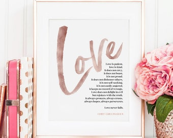 Love is Patient Love is Kind Print Corinthians 13 Bible Verse Wall Art Scripture Printable Love Never Fails Wedding Anniversary Gift for Him