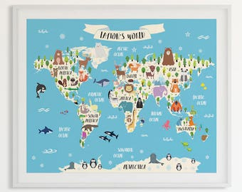 Animal World Map Print Personalized Baby Gift Kids World Map Poster Custom Map Art Animal Nursery Decor Baby Name Art Custom Nursery Map Art