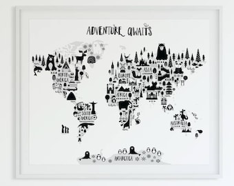 Animal World Map Print, Monochrome Nursery World Map, Adventure Nursery Map Art Kids World Map Poster Black White Scandinavian Nursery Decor
